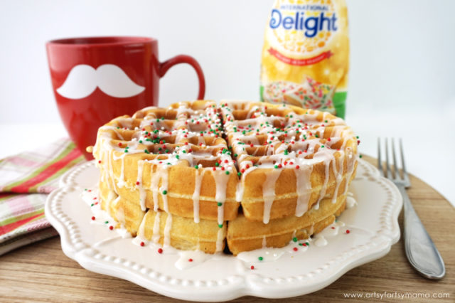 Fluffy Sugar Cookie Waffles with Sugar Cookie Coffee Creamer drizzle and sprinkles