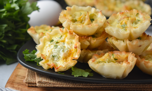 Image: Chicken Chile Cheese Quiche Cups.