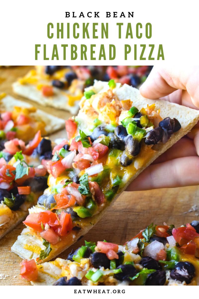 Image: Black Bean Chicken Taco Flatbread Pizza.