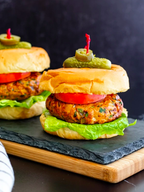 Taco Burger on a stone slab, perfect for Super Bowl Recipe Roundup