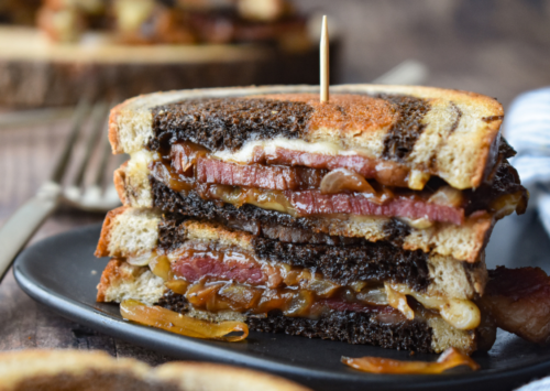 Photo: Corned Beef Grilled Cheese Sandwiches.