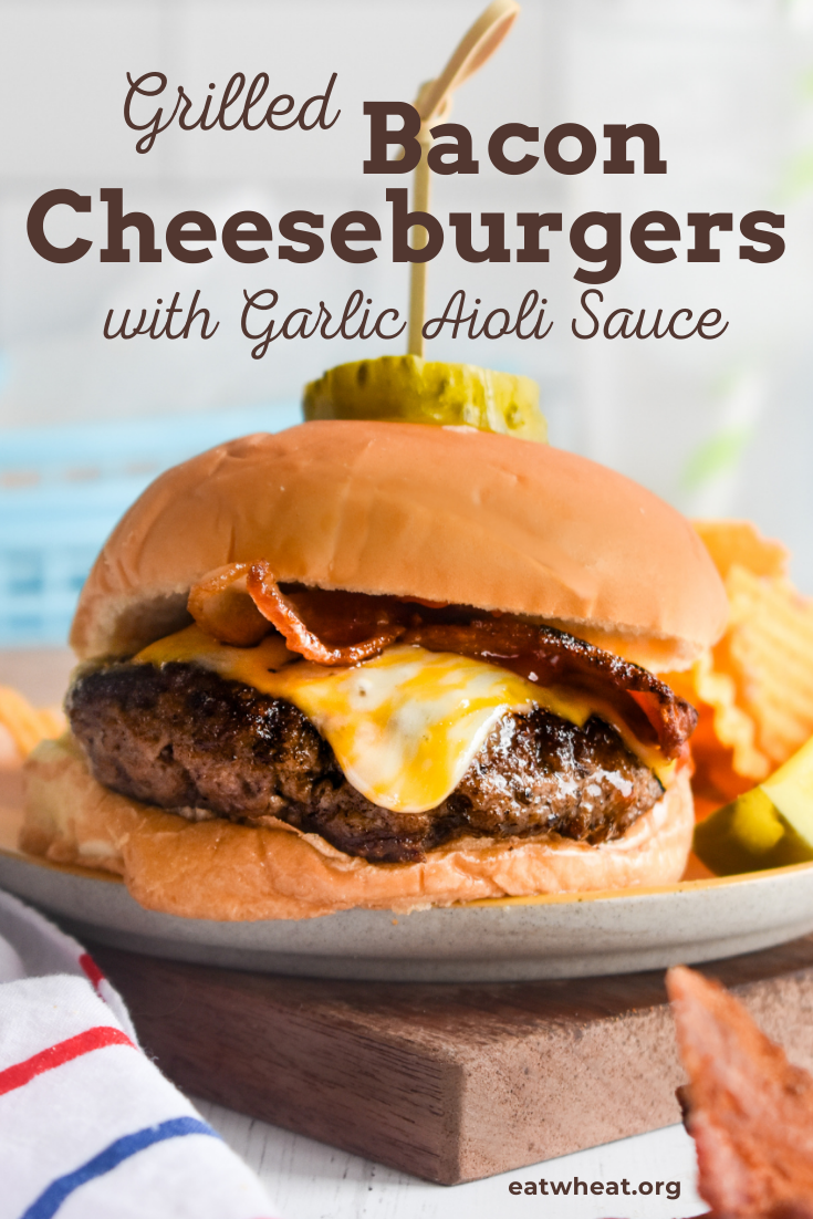 Image: Grilled Bacon Cheeseburgers with Garlic Aioli Sauce.