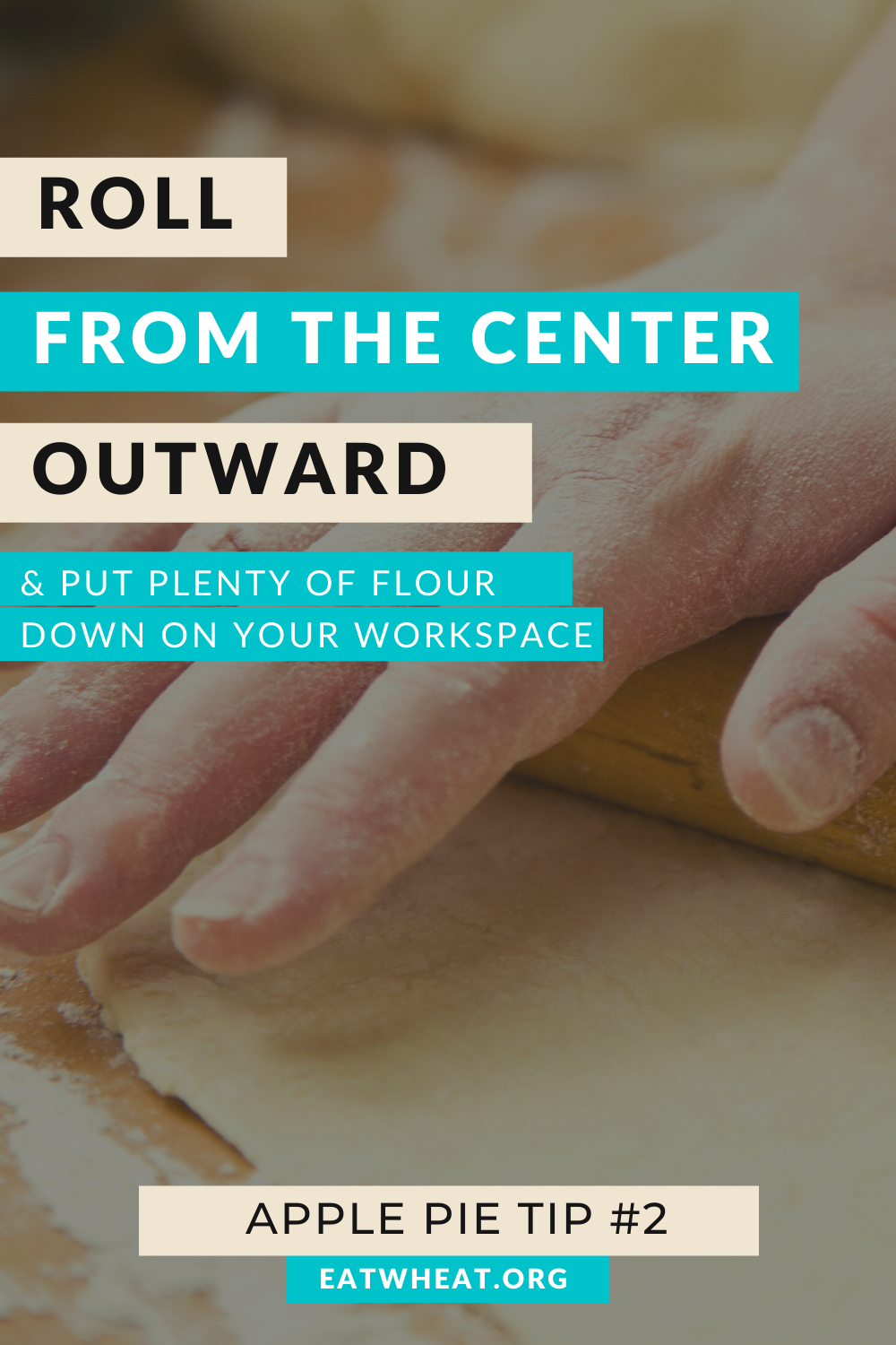 A graphic that says roll from the center outward and put plenty of flour down on your workspace.. Created for National Apple Pie Day.