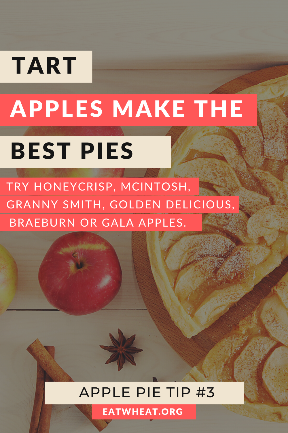 A graphic that says tart apples make the best pies. Try honeycrisp, mcintosh, granny smith, golden delicious, braeburn or gala apples.. Created for National Apple Pie Day.