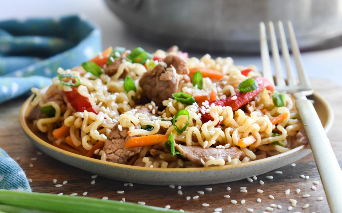 Photo: Asian Pork & Noodle Skillet.